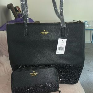 Black glitter tote and matching wallet